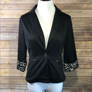Silky Leopard Trimmed Jacket